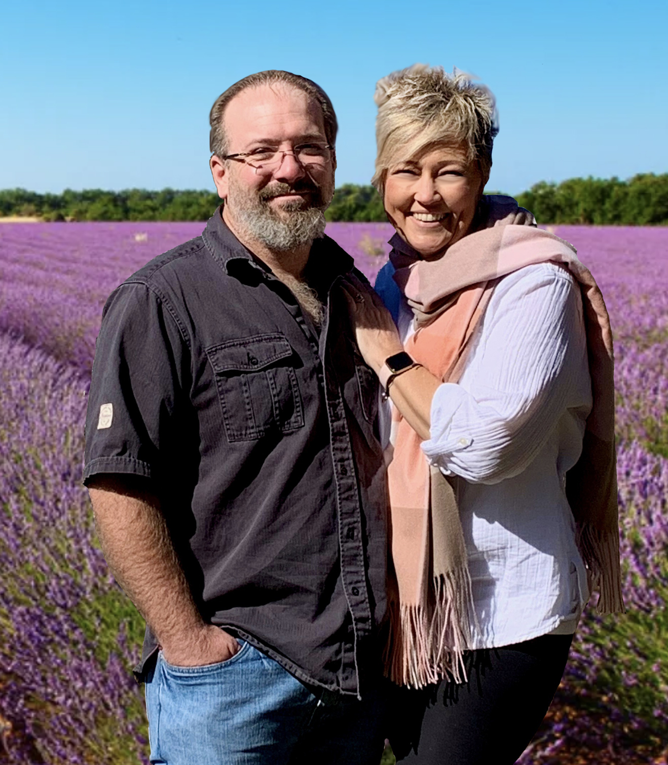 Larry and Stacie lavender field